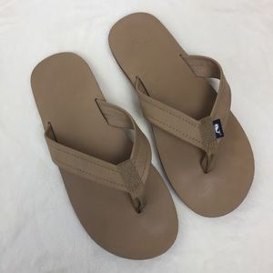 Vineyard Vines Leather Flip Flops Tan Men's 11
